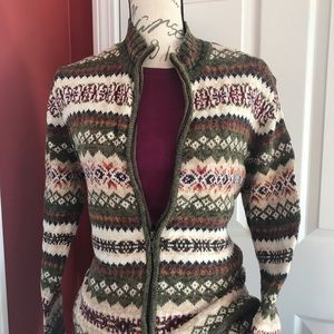 Warm zip up multi color knit sweater